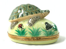 Limoges France Trinket Box Hand Painted Turtle Frog Pond Peint Main Porcelain