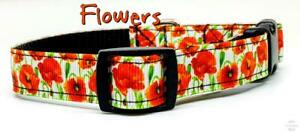 "Poppy Flowers dog collar handmade adjustable buckle collar 5/8"" wide or leash"