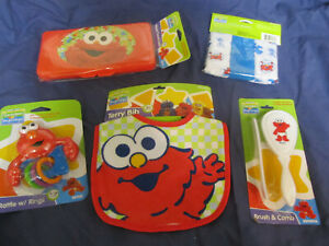New Sesame Street Elmo Baby Care Lot 8pc Bib Case Brush Rattle Washcloths Gift