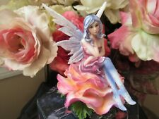 Fairyland Fairy Figurine sitting on a pink rose by Pacific Giftware Bnib