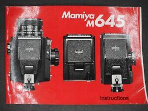 Mamiya M645 Camera Instruction Manual / User Guide