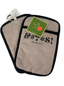 New! Set Of 2 Kate Spade Excuse My French Pot Holder &#?*$! Expletive