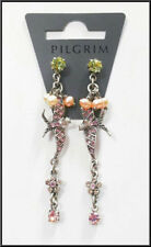 NEW PILGRIM SILVER PLATED EARRINGS SWAROVSKI CRYSTALS PEARLS Swallow Collection