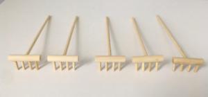 Lot Set of 5 Mini Miniature Zen Garden Wood Rakes for Raking Sand - USA Seller