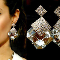 New Fashion Jewelry Square Crystal Earings Luxury Sparkling Big Drop Earrings KI