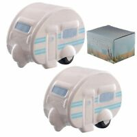 Caravan salt and pepper cruet set shakers pots ceramic collectable Ted Smith