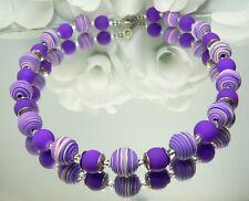 WUNDERSCHÖN   KETTE   FIMOPERLE  SPIRALE  violett  lila Glasperle lila 447c