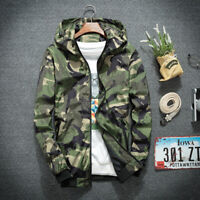 NEW Mens Slim Fit Thin Casual Jacket Sport Camouflage Hoodie Coat Outwear Tops