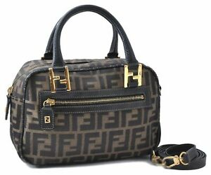 Authentic FENDI Zucca Shoulder Hand Bag 2Way Canvas Leather Brown A6829