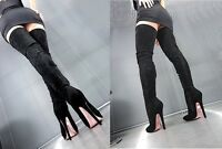MORI OVERKNEE EXTREME HEELS ITALY STIEFEL BOOTS SUEDE STRETCH LEATHER BLACK NERO