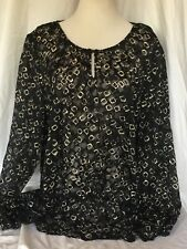 Chico's Size 3 Top Blouse Sheer Geometric Burnout Black Gold Long Sleeve XL NICE
