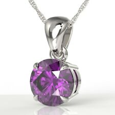 925 Sterling Silver Gorgeous Solitaire Amethyst Pendant Necklace UK