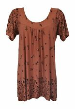 New Women Ladies Pleat Short Sleeve Rust Print Smock Top Plus Size 16-30