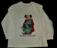 NWT Ralph Lauren Polo Baby Boys Bear Long Sleeve Tee Shirt New White toddler kid