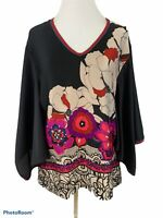 Trina Turk Women's Agate Floral Kimono Sleeve Satin Blouse Size Medium