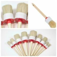 Round Bristle Wooden Handle Chalk Oil Paint Painting Wax Brush 1Set