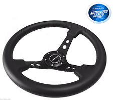 NRG Deep Dish Steering Wheel 350mm Black Leather Black Center RST-006BK