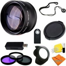WIDE ANGLE MACRO LENS + FILTER KIT+LENS HOOD +USB READER FOR SONY ALPHA A5000