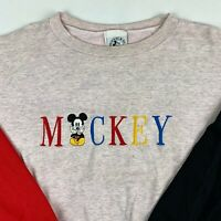 VTG 90s Mickey Mouse Crewneck Sweatshirt Mens XL X-Large Embroidered Spellout