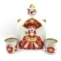 Vintage USSR Soviet Russian LFZ Lomonosov Porcelain Decanter W/cups.