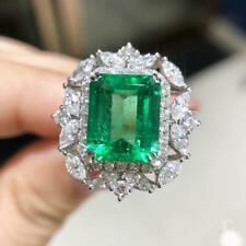 3.34CT Vivid Green Emerald With Marquise & Round Cut 1.32CT CZ Anniversary Ring
