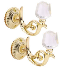 2pcs Crystal Rose Curtain Tiebacks Wall Tassel Hooks Home Supplies Golden