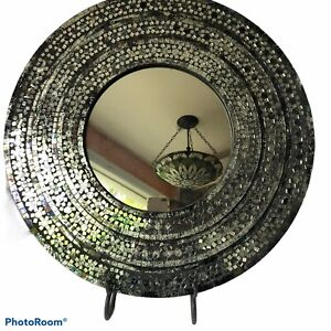 "Glass Mosaic Mirror Iridescent Color Multicolor Glamorous 22.5x22.5"" Velvet Back"