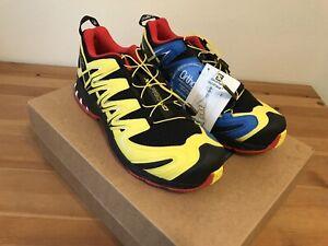 Salomon Men's XA Pro 3D Trail Running Shoes Size 12  Yellow/Blue/Red/White/Black