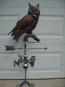 Owl Weathervane Antique Copper Finish Bird Weather Vane Hand Crafted