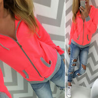 Womens Long Sleeve Hoodie Sweatshirt Zip Up Jumper Sweater Pullover Tops Coat