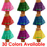 Women Girl Satin Short Mini Dress Tiered Skirt Pleated Retro Elastic Ruffle Club