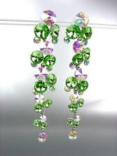 STUNNING Peridot Green Iridescent Czech Crystals WATERFALL Dangle Earrings