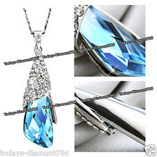 BLUE CRYSTAL NECKLACE LOVE WIFE MOTHER SISTER WOMEN PRESENT XMAS GIFT FOR HER UK