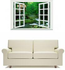 Window Scene Rainforest with a stream and Hut Wall Art Sticker Free Postage