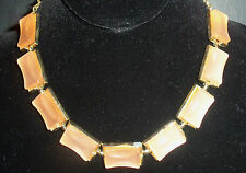 Vintage Gorgeous PEACH MOON GLOW THERMOSET LUCITE  NECKLACE ESTATE JEWELRY