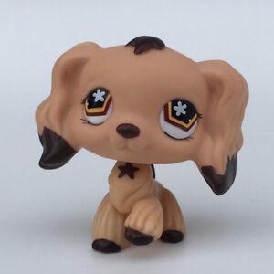 Littlest pet shop rare toys 575 Cocker Spaniel Dog Brown Dipped Ears Flower Eyes