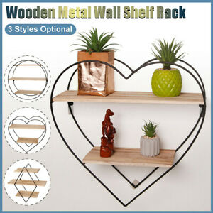 Iron Wall Mounted Shelf Unit Retro Wood Industrial Style Metal Wire Hanging