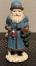 "Kurt Adler World Santa Figure - Antique Pewter - 2.5"" Tall - Blue Holding a Tree"