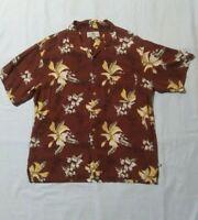 Island Shores Men's Hawaiian Palm Tree Floral Washable Silk Shirt Sz XL FLAW