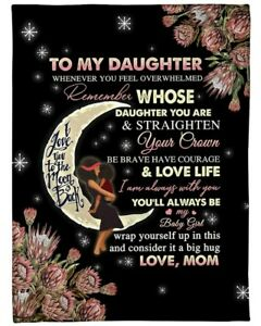 To My Daughter Love You To The Moon And Back From Mom| Fleece Sherpa Woven Sh...