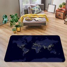 3D Blue Black ZHU264 World Map Non Slip Rug Mat Elegant Photo Carpet Amy