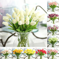 10× False Tulip TULIPS REAL TOUCH PU Fake Flowers BOUQUET Home Wedding Decor Red