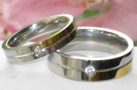 MENS  WOMENS SIMULATED DIAMOND WEDDING BAND RING STAINLESS STEEL 4mm 7MM  STR168