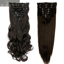 Double Weft Full Head Clip in Hair Extensions real natural for remy human hair