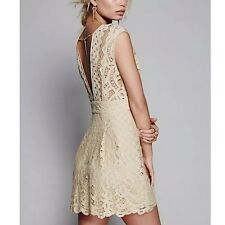 FREE PEOPLE S Lace Dress Beige Open Back Floral Fit and Flare Mini  Small 6  NEW