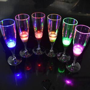 6pcs LED Light Up Wine Glasses Flashing Cups Bar Night Club Drink Party Decor B