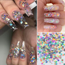 1 Bag Holographic Stars Nail Stickers 3D Nail Tips Decorations Sparkling DIY