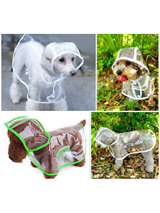 Dog puppy rain coat mac cover easy clip on see through breathable comfortable