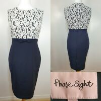 PHASE EIGHT Navy Blue Cream Floral Lace Pencil Bodycon Dress Plus Size 18