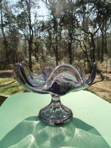 Viking Glass Epic 6 Petals Mauve Footed Compote Bowl